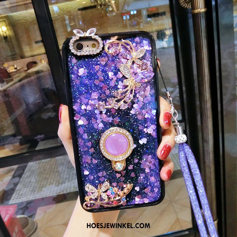 iPhone Se Hoesje Mobiele Telefoon Hoes Anti-fall, iPhone Se Hoesje Hanger Purper Sandfarben