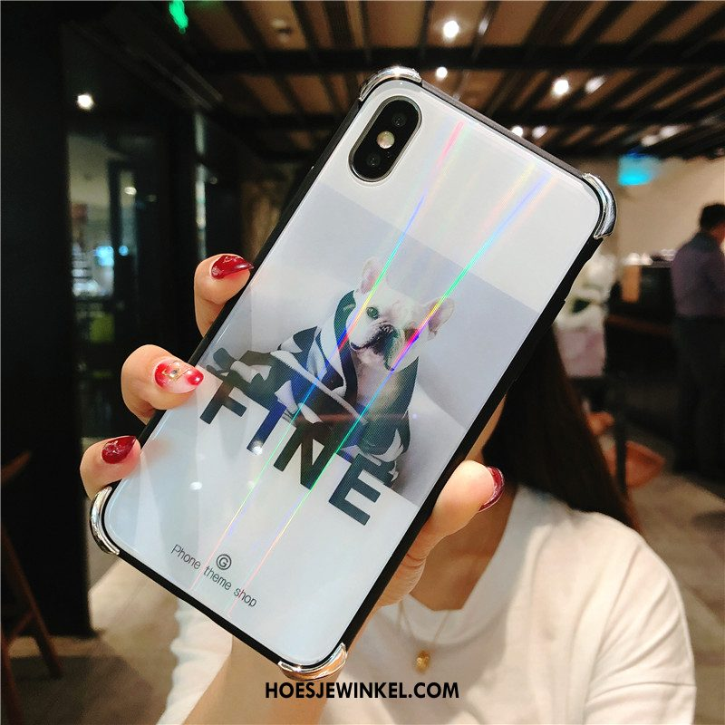 iPhone Xs Max Hoesje Anti-fall All Inclusive Trendy Merk, iPhone Xs Max Hoesje Glas Wit