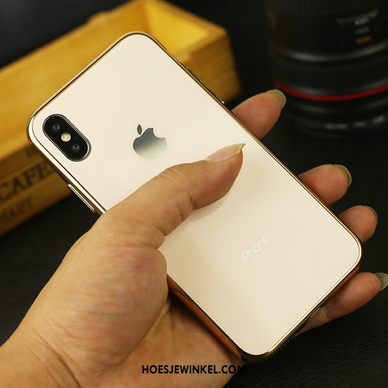 iPhone Xs Max Hoesje Anti-fall Plating Mobiele Telefoon, iPhone Xs Max Hoesje Glas Zwart
