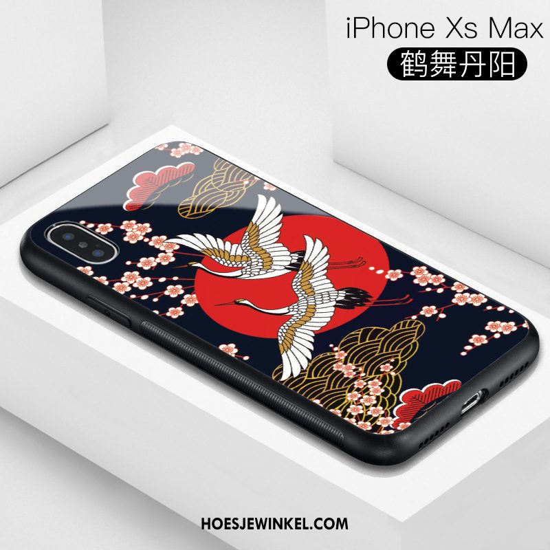 iPhone Xs Max Hoesje Glas Blauw Trendy Merk, iPhone Xs Max Hoesje Chinese Stijl All Inclusive