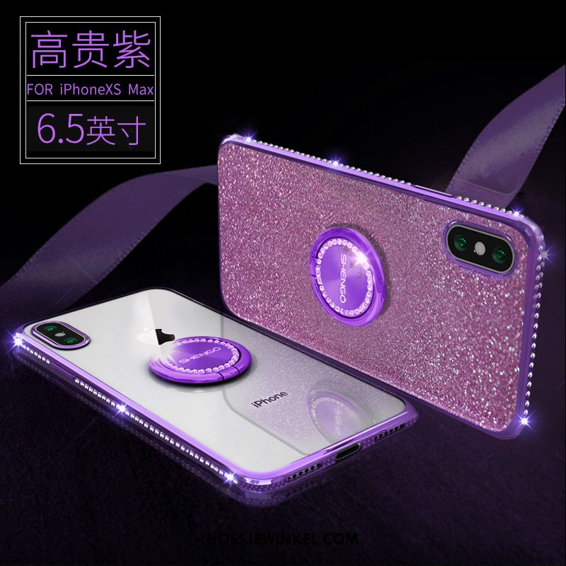 iPhone Xs Max Hoesje Met Strass Anti-fall All Inclusive, iPhone Xs Max Hoesje Purper Siliconen